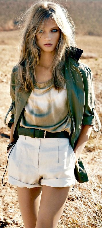 Feminine fashionable military look