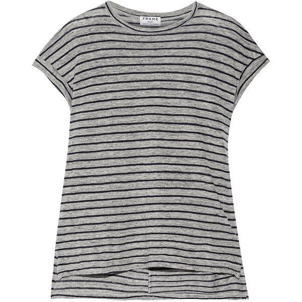 Frame Denim Le Muscle striped slub linen T-shirt (285.905 COP) via Polyvore featuring tops, grey, striped tee, stripe t shirt, stripe tee, frame denim and grey t shirt