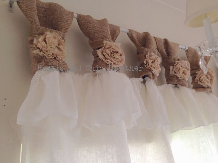 White linen and burlap ruffles curtains - wide ruched tabs - Tea dyed rosette by RusticChicTogether on Etsy https://www.etsy.com/listing/178536534/white-linen-and-burlap-ruffles-curtains