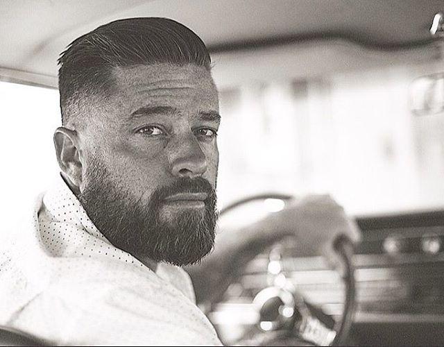 Source: Instagram: http://www.instagram.com/capt_n_hook Here's an awsome picture of stud muffin @stevenmoak hair and beard by @capt_n_hook #mensgrooming #barber#hairdresser #blacknwhite CA LAX:  Old Glory Barbershop and Tattoo Robert Maldonado 1716...