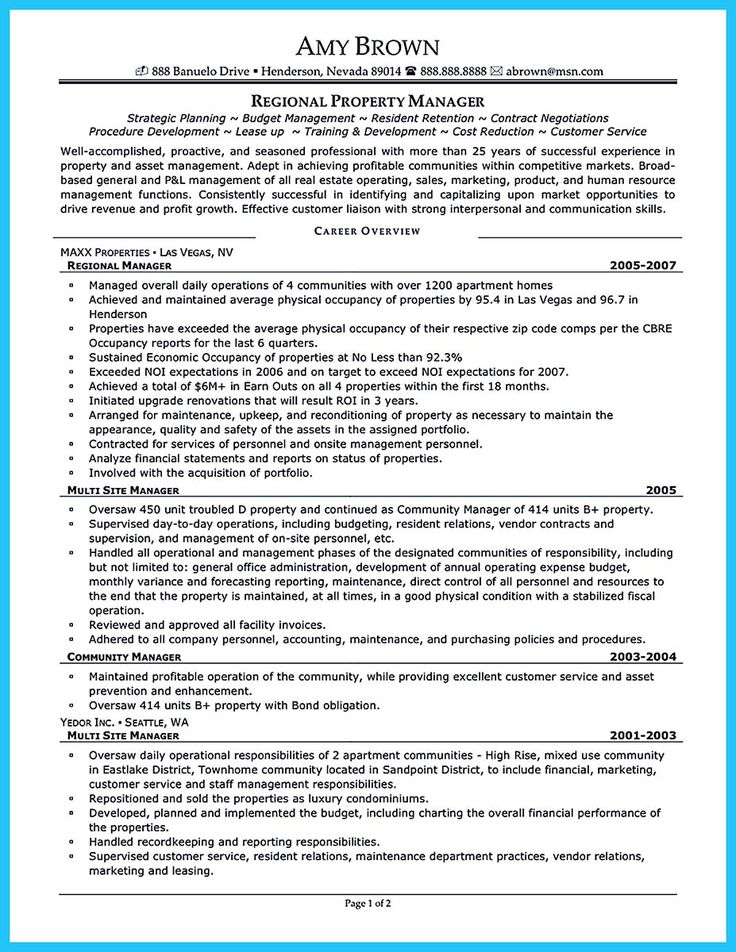 if you want to propose a job in land property you should make a suitable - Apartment Manager Resume