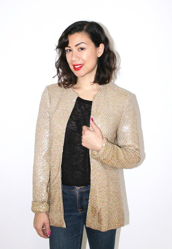Gold jacket with iridescent sequins by CirkusVintageCph on Etsy