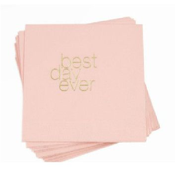 """Celebrate your best day ever with these stylish boutique napkins from Betsywhite Stationery! 4.75 x 4.75"""" Pink napkins with gold ink Pack of 25"""