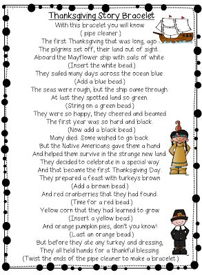 Thanksgiving Story Bracelet (free; from First Grade Wow)