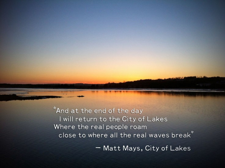 "We love these lyrics from Matt Mays's song ""City of Lakes"", a.k.a. Dartmouth, #NovaScotia."