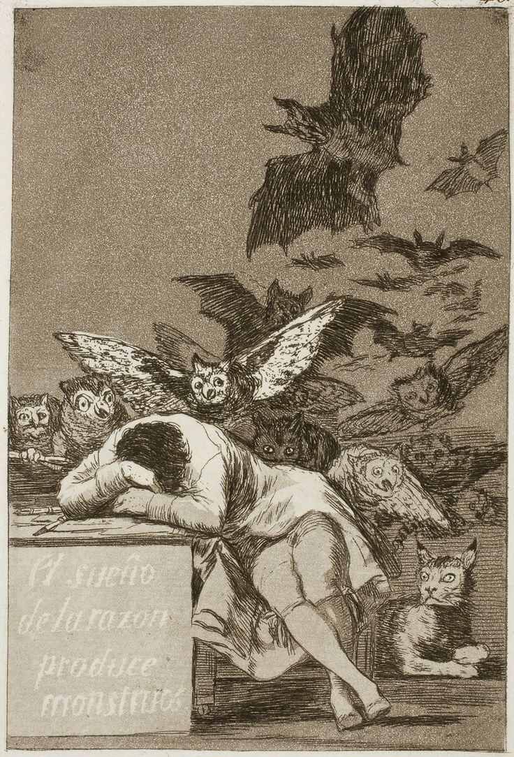 """Francisco de Goya y Lucientes, """"El sueño de la razón produce monstruos"""" (Capricho nr. 43), 1799. Frank I. Heckes señala que el título de la obra atestigua la creencia de Goya de que """"sólo pueden  superarse la superstición, la ignorancia y el sinsentido aliando razón y fantasía"""", """"«La fantasía abandonada de la razón produce monstruos imposibles: unida con ella es madre de las artes y origen de las maravillas»"""