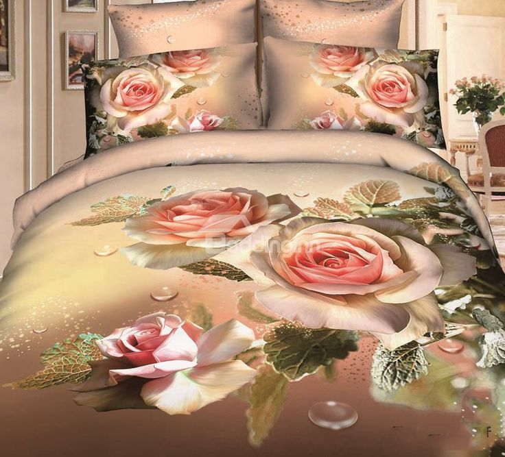 New Arrival Cotton Elegant Flower Blossoms Print 4 Piece Bedding Sets @beddingtons bed & bath inn