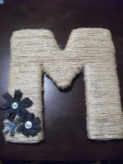 Monogram letter with twine & ribbon bows- great for the front door or as a gift!