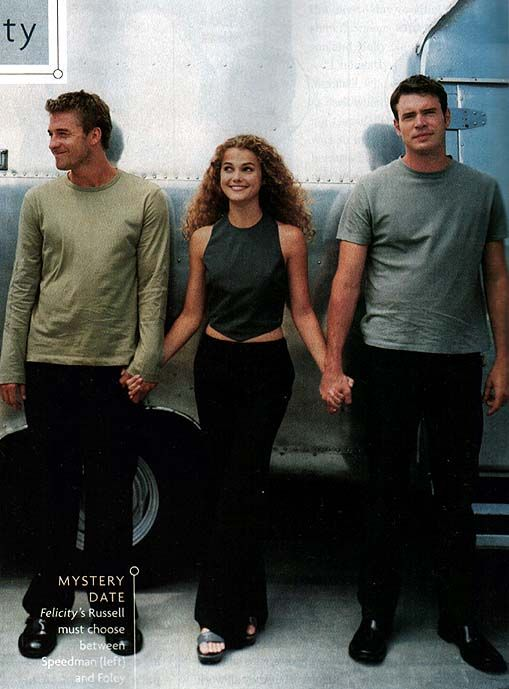 Scott Speedman (Ben Covington), Keri Russell (Felicity Porter) and Scott Foley (Noel Crane) on the set of Felicity.