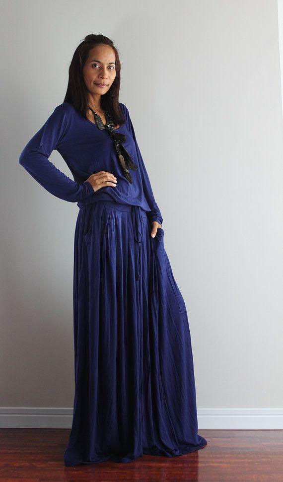 Navy Blue Maxi Dress - Dark Blue Long Sleeve Dress : Autumn Thrills Collection No.1 (Best Seller)