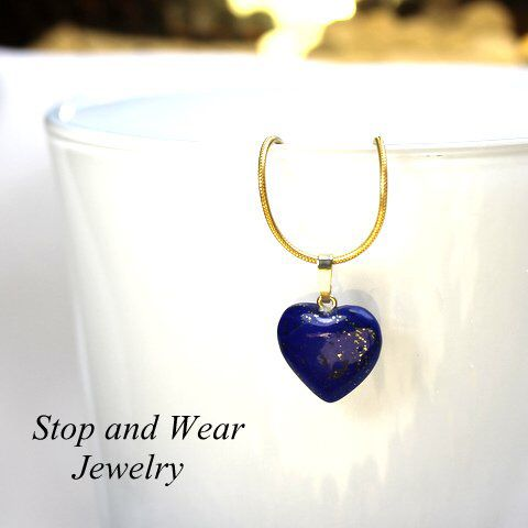 Lovely gold pendant with Lapis Lazuli heart  custom made piece