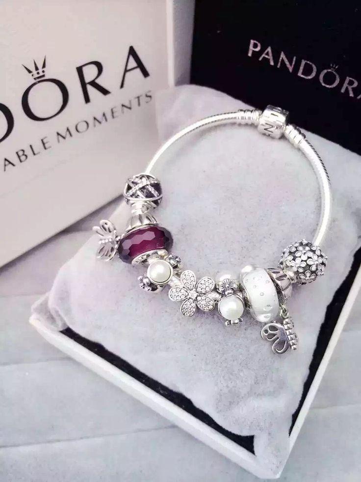 Tendance Bracelets  50% OFF!!! $219 Pandora Charm Bracelet White Purple. Hot Sale!!! SKU: CB01588