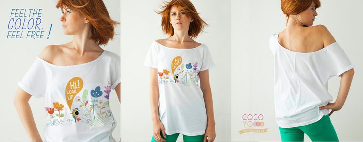 T-shirt# >> You can order by e-mail: cocoyo.info@gmail.com or Etsy : https://www.etsy.com/ie/listing/188905420/spring-flowers-white-t-shirt-long-look?ref=shop_home ------------------------------ photo by : Agata Reclaf photography