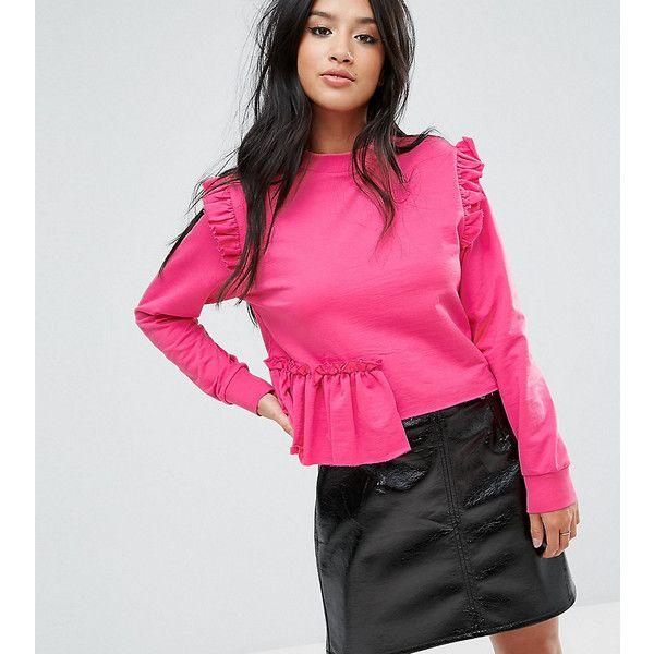 Miss Selfridge Petite Ruffle Sweat ($14) ❤ liked on Polyvore featuring tops, hoodies, sweatshirts, petite, pink, pink sweatshirts, long sleeve sweatshirts, high neck long sleeve top, pink ruffle top and cotton sweatshirts