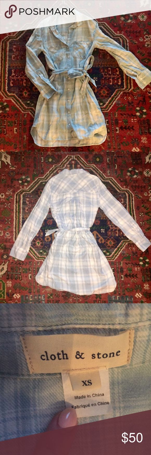 Cloth + Stone Plaid Dress Long-sleeves, soft flannel material, worn a handful of times Anthropologie Dresses Long Sleeve