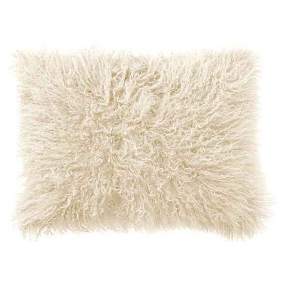 Mongolian Fur Pillow Cover, 12x16, White