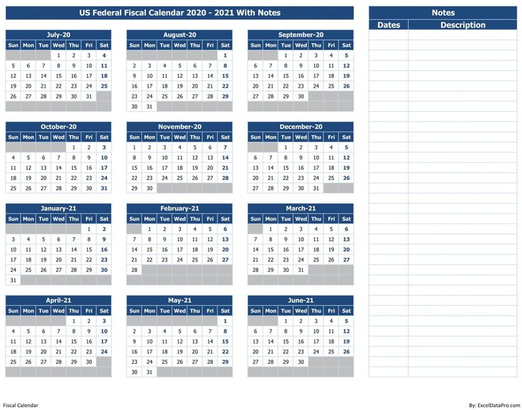 Download US Federal Fiscal Calendar 202021 With Notes