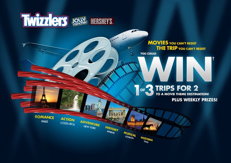 The Trip You Can't Resist Summer Twizzlers Promotion. Enter and you could win 1 of 3 trips for two to a movie theme destination. Plus weekly prizes!
