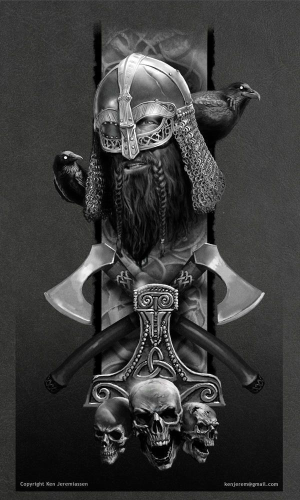 Sticker Fini Brillant Viking Dragon Tatouage 9