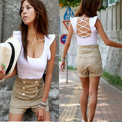 Sexy White Sleeveless Ruffle Hipster Pinup Tops Women Clothing Store SKU-0040443