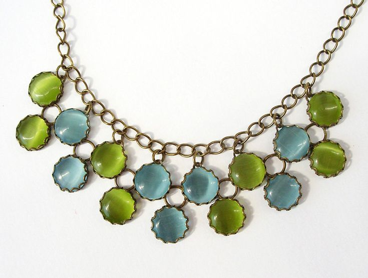 Double row glass necklace - cat's eye glass, light blue, olive green