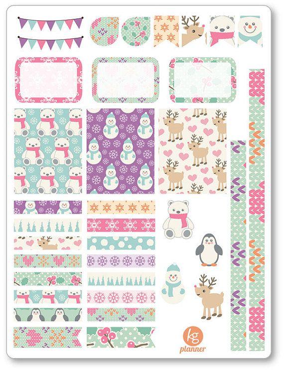 Cute Winter Decorating Kit / Weekly Spread Planner Stickers for Erin Condren Planner, Filofax, Plum Paper