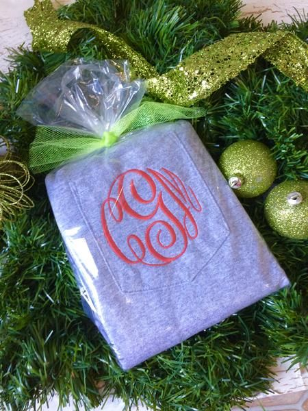 A Black Friday Special! Long Sleeve Monogram Pocket Tees. These are embroidered and we go BIG, we cover as much of the pocket as possible. No skimpy monograms h