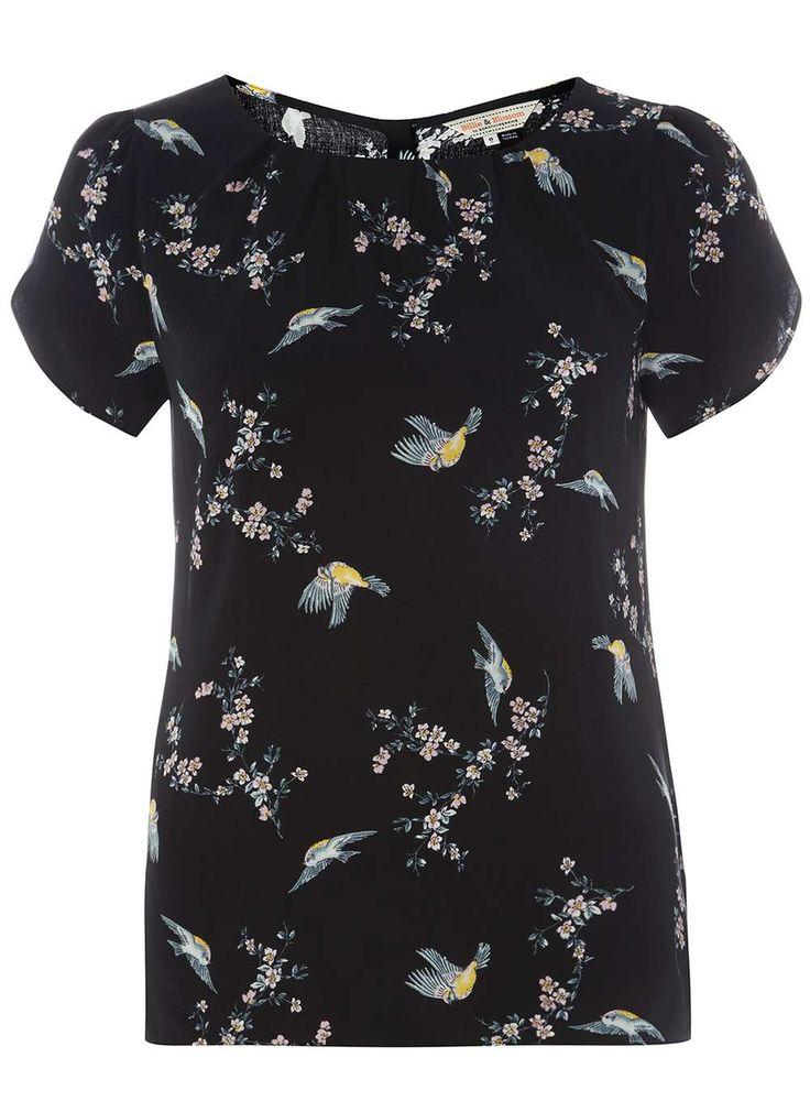 **Billie & Blossom Bird Print Shell Top