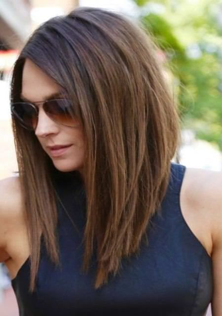 Short A line haircut medium length hairstyles for women