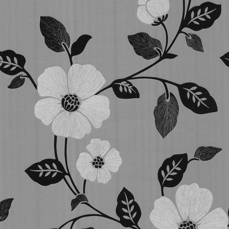 Brewster Sayles Black Modern Poppy Floral Wallpaper Black Home Decor Wallpaper  Wallpaper