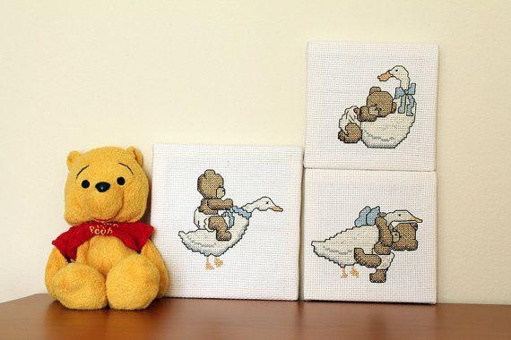 Set 3 quadri punto croce per cameretta neonato di Unavitaacolori