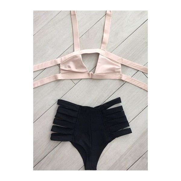 Rotita High Waist Padded Cutout Design Bikini ($21) ❤ liked on Polyvore featuring swimwear, bikinis, pink, pink high waisted bikini, padded swimwear, bikini two piece, cut-out swimwear and pink swimwear