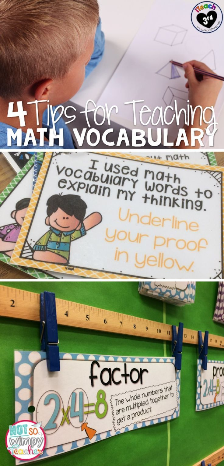 4 Tips for Teaching Math Vocabulary. Learning important vocab words is an important step in teaching students to solve word problems!