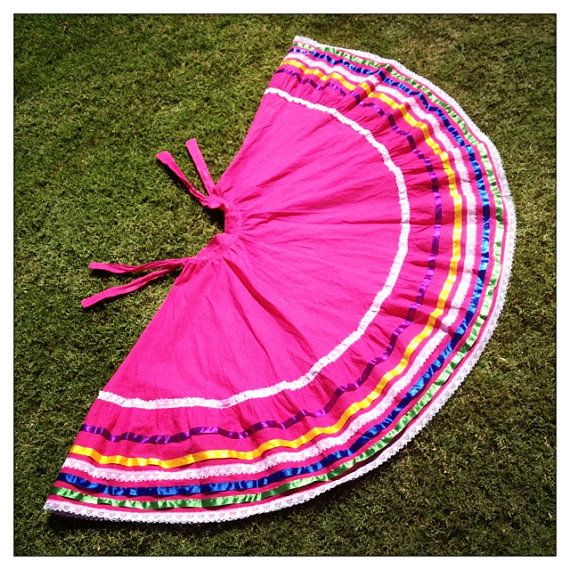 FUCHSIA Fiesta Vintage Party Mexican Circle SKIRT with RAINBOW Silk Ribbon and Lace Trim