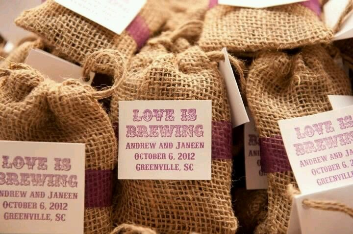 Coffee wedding favors...filled with local West End Jamaican Me Crazy coffee