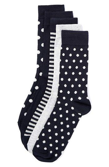 Topman Dot and Stripe Pattern Socks (5-Pack) avail…