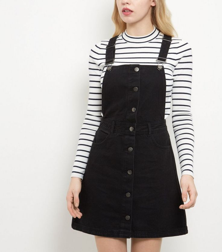 Anita and Green Black Denim Button Front Pinafore Dress | New Look