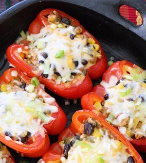 Gevulde paprika met spinazie en champignons