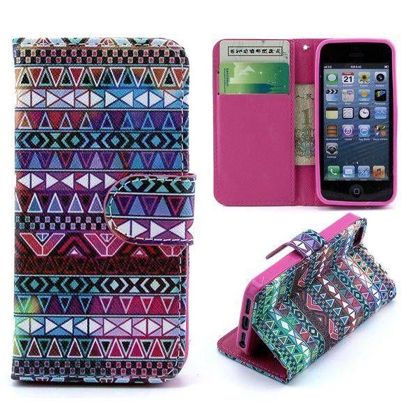Kleurrijke aztec bookcover hoesje voor iPhone 5 / 5S