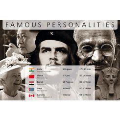 Διάσημες Προσωπικότητες - 5 Χαρτονομίσματα από όλον τον κόσμο!!Διάσημες Προσωπικότητες -  5 Χαρτονομίσματα από όλον τον κόσμο!!  Η Μοναδική Συλλογή Χαρτονομισμάτων από διάφορες χώρες του κόσμου με θέμα τις διάσημες προσωπικότητες της παγκόσμιας σκηνής. Περιλαμβάνει τα ακόλουθα 5 χαρτονομίσματα: 1 Γουάν, Μάο Τσε Τούνγκ (1893-1976), Κίνα 50 Πιάστρες, Γρανιτένιο Άγαλμα του Ραμσή II, Αίγυπτος 3 Πέσος, Τσε Γκεβάρα (1928-1967), Κούβα 5 Ρουπίες, Μαχάτμα Γκάντι (1869- 1948), Ινδία 1 Δολάριο…