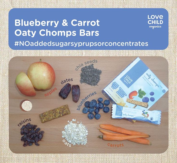 Our blueberry & carrot Oaty Chomps include blueberries, carrots, oats, chia seeds, apples, raisins and dates. Always organic, packed full of super foods, and never containing any sugar, syrups or fruit concentrate.