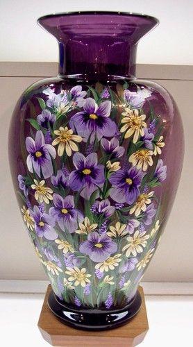 Fenton Vase Jumbo Aubergine Wildflower Garden OOAK Free USA Shipping | eBay