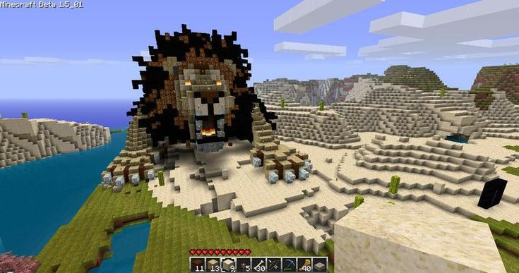 Amazing minecraft lion build.