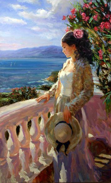 "Vladimir Volegov ""Spanish Beauty"" Acrylic on canvas 48x30"