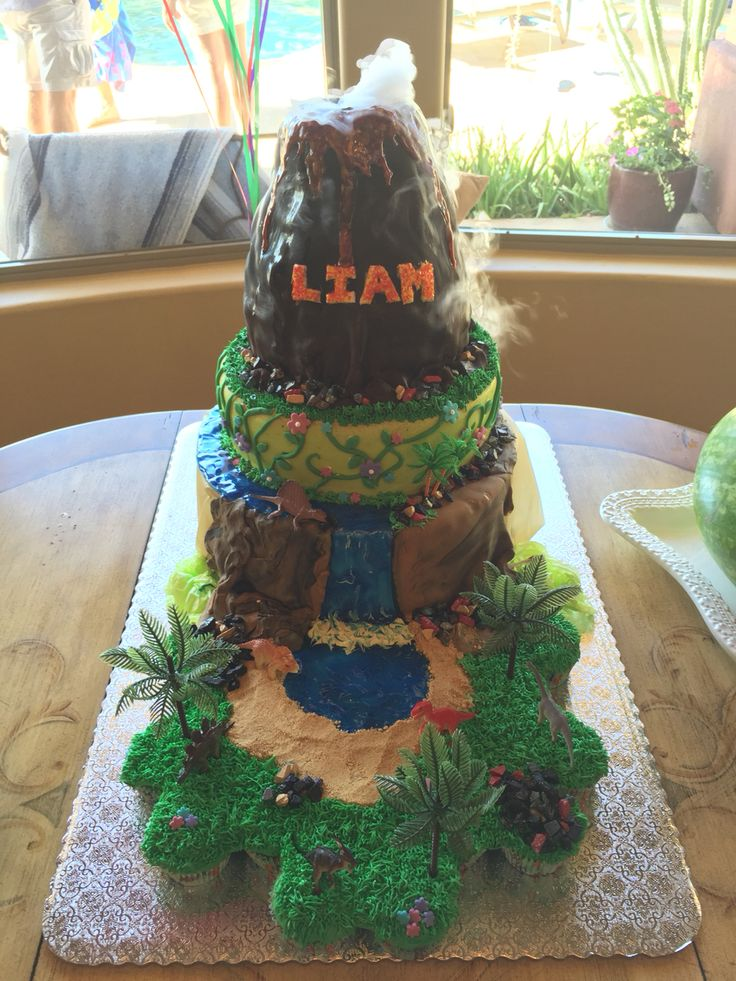 Dinosaur & Smoking Volcano Cake by Kellie Dunlap