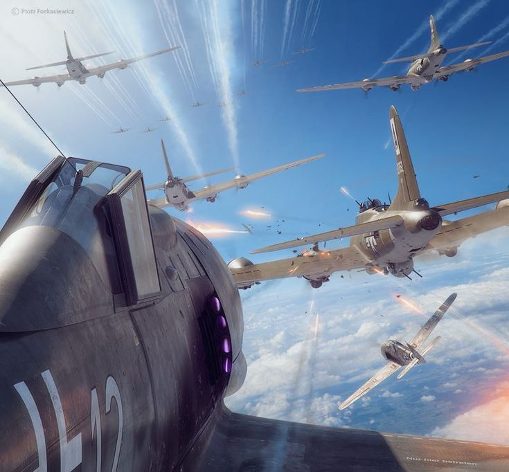 """A group of """"Viermots"""" (Vier Motoriges- Four engined) B-17 Flying Fortresses, being received by the """"welcoming committee"""" over the Skies of Germany, a group of Focke-Wulf Fw 190A """"Sturmbock"""" equiped with armoured cockpit and heavy armament. Cover illustration for Aerojournal magazine. Models, textures, scene & illustration by Piotr Forkasiewicz"""