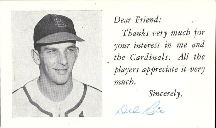 1955 cardinals dear friend del rice autograph in 2021