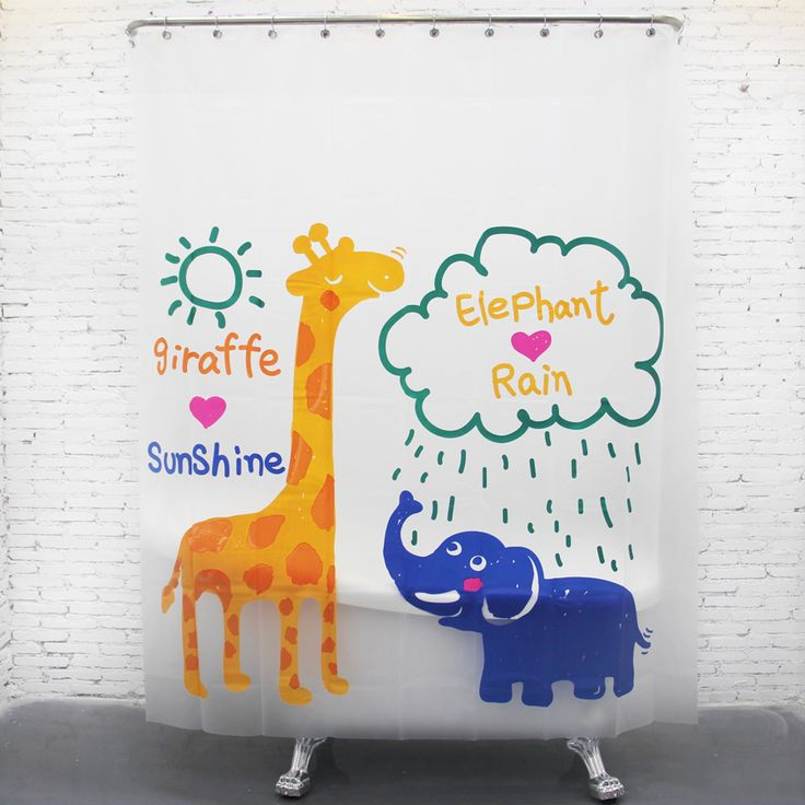 Giraffes and elephants Waterproof Shower Curtain Bathroom Products Creative Polyester Bath Curtain cortina de bano with Hooks #Affiliate