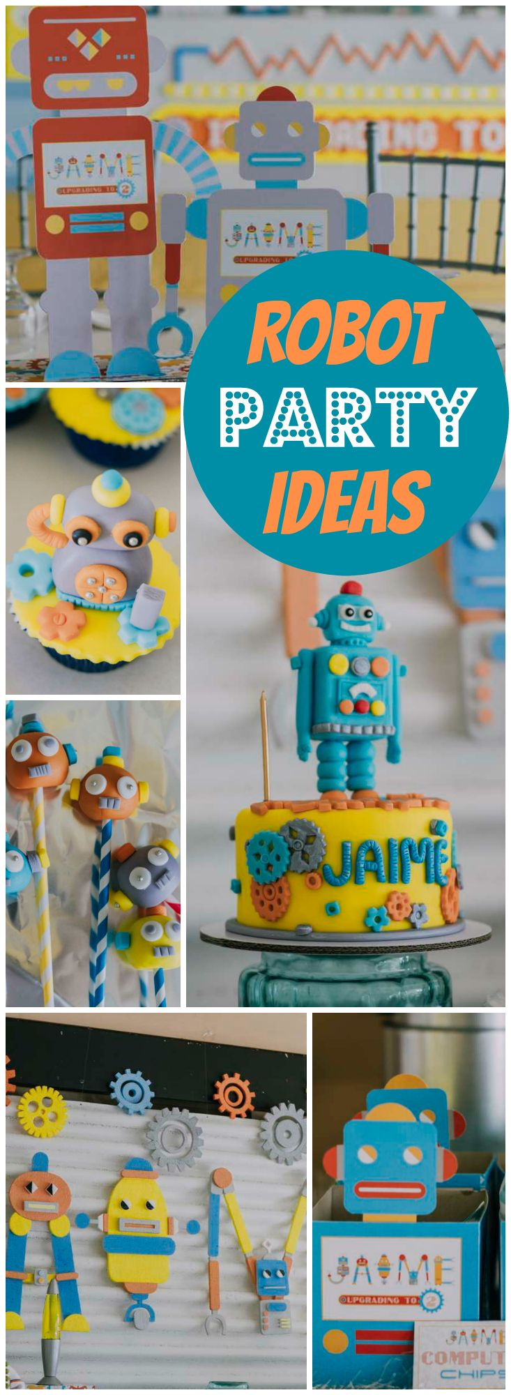 How fun is this robot themed birthday party! See m…