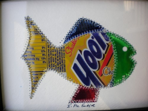 Fish made from my favorite Yoohoo Chocolate Drink  5 x 7 original collage